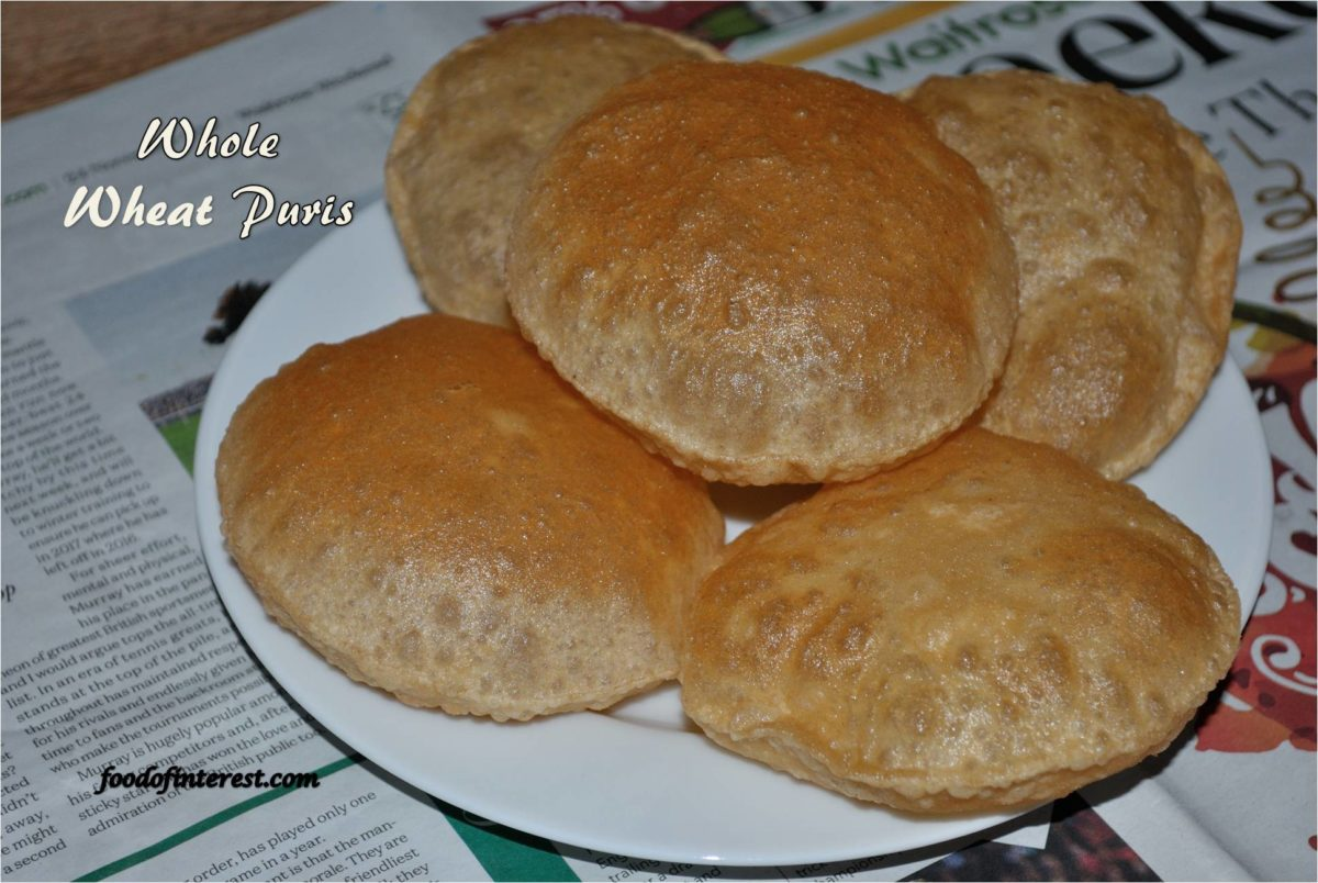 Whole Wheat Puri | How to make atta puri? | Poori